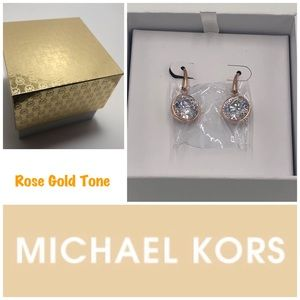 Michael Kors Rose Gold Tone Crystal Drop Earrings